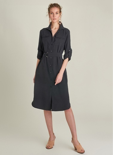 NGSTYLE Tencel Gömlek Elbise Siyah